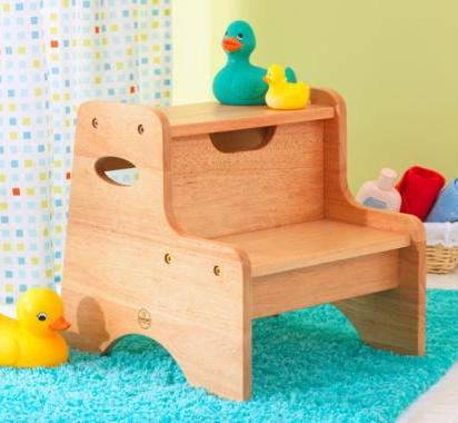 Natural Two Step Stool For Children Toddlers Treasures