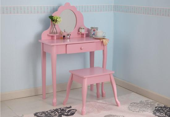 Pink Vanity Amp Stool Set For Girls Toddlers Treasures